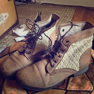 Distressed looking brown and lace ankle boots